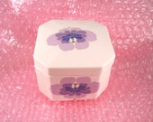 Lovely Toyo trinket treasure keepsake box with purple flower on lid