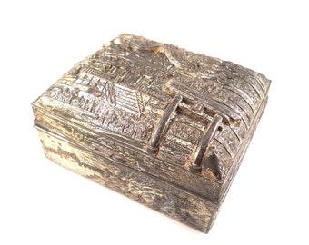 Antique Silver plate Asian Scenic cigarette Trinket Jewelry Box