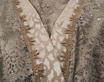 Lace  bed jacket Sheer with Rhinestones in the fabric