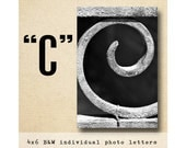 Letter C Alphabet Photography  Black and White 4x6 Photo Letter UNFRAMED