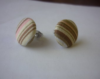 Brown, Tan, and Pink fabric earrings