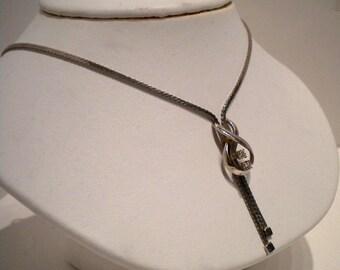 Vintage 14kt White Gold Diamond Necklace 1950s
