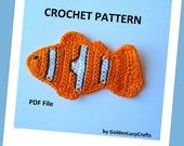 Clownfish, Tropical Fish Applique Crochet PATTERN, PDF
