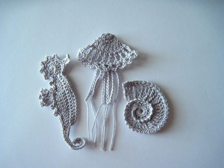 Crochet Sea Motifs Applique in Silver Grey Seahorse