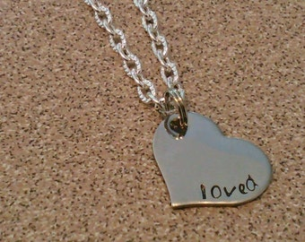 Loved hand stamped heart charm necklace