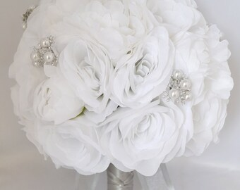 """17 Piece Package Wedding Bridal Bride Maid Of Honor Bridesmaid Bouquet Boutonniere Corsage Silk Flower WHITE JEWELS """"Lily Of Angeles"""" WTWT03"""