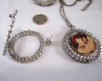 Silver-Plated Double-Sided Photo Pendant