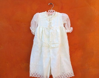 VINTAGE 1950s 1960s 2 Piece - Baby Girl's Baptism Christening Ivory White Dress Gown with Matching Long Coat Jacket. Lace eyelet