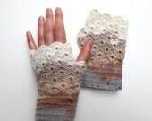 Hand Crochet Fingerless Gloves / Arm Mittens / Front page / winter fashion/ Valentines Gift / Gray, Beige, Brown. xoxo
