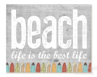 Beach Home Decor - Lake House Art Print - Rustic Beach House Inspired Typography Poster - Lake House Surfboard Art Print Woodgrain