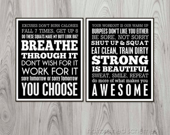 Fitness Subway Art Poster Diptych - Funny Bootcamp Exercise Motivational 2014 Resolution Digital Art Print Athlete Gym Decor Black White Art