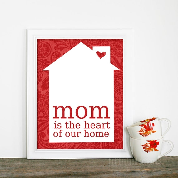 Mother Poster Mom is the Heart of Our Home - Yellow Spring Sunshine Quote Modern Print House - Red Orange Heart Mothers Day Mom Birthday