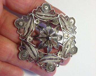 Silver Filigree Brooch Vintage lot 4