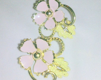 Vintage Pink Enamel Gold Tone Flower Earrings