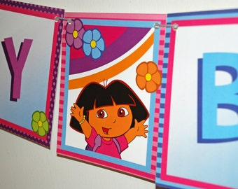 DORA the Explorer Birthday Banner - dora and flowers