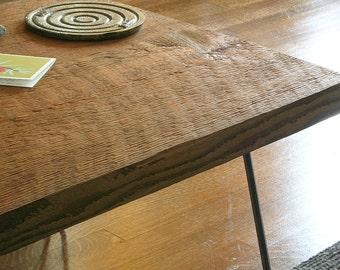 island grange coffee table from reclaimed roughsawn fir and steel hairpin legs - modern industrial