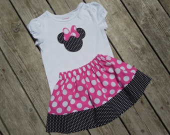 Girl's Toddlers Skirt and Shirt Outfit - Skirt with Personalized Minnie Mouse Ears Shirt
