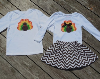 Brother and Sister Thanksgiving Outfit - Brown Chevron Skirt with Turkey Applique Shirt