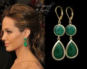 Emerald Green Earrings Angelina Jolie Earrings Gold Dark Green Teardrop Jade Earrings Celebrity Inspired Jewelry Green Gold Bridesmaid Gift