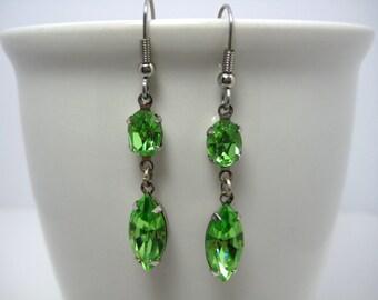 Swarovski Crystal Rhinestone Peridot Earrings Set in Silver Settings
