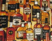 Realistic Whiskey Bottles Spirits Cotton Fabric Fat Quarter or Custom Listing