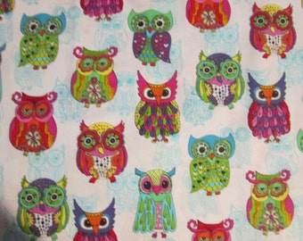 Wise Owls Aqua Teal Inlay White Cotton Fabric Fat Quarter Or Custom Listing
