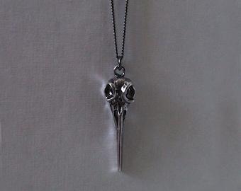 Long Raven Necklace.  Birds Skull  Long Necklace. Boho Raven Necklace. Layering Necklace