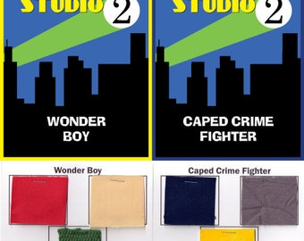 WS2 Caped Crime Fighter and Wonder Boy Pattern and Swatch set.Limited Edition  Collectible, DIY costume patterns.