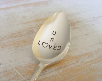 Hand Stamped Spoon silverware Coffee Spoon