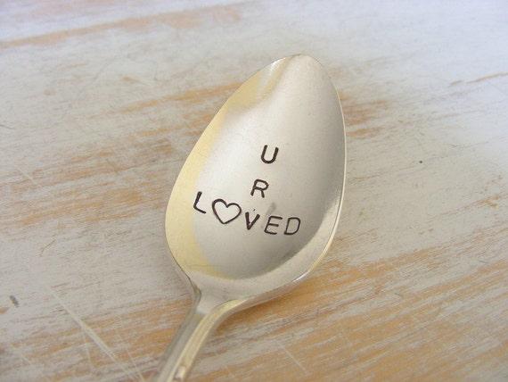 Hand Stamped Spoon silverware Coffee Spoon