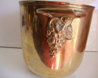 Brass Bucket, Wine Cooler, Planter With Handles