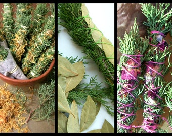 "Smudge Stick Cedar Wand Rose Calendula Bay Leaf Lavender Sweetgrass Psychic Purify Protect Love Intuit Dream Choice Fresh New Mexico 7"" Fat"