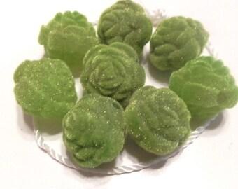 New 6 Velvet Olive Green Roses Flowers Beads 16mm