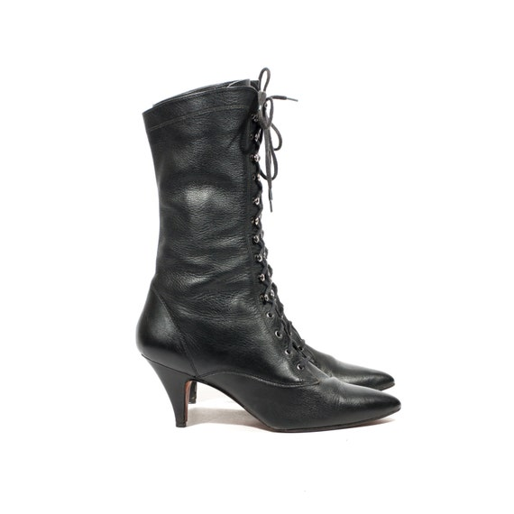 L.J. Simone Black Leather Witch Boots Mid Calf Lace Up High Heel Boots Women shoe size 10