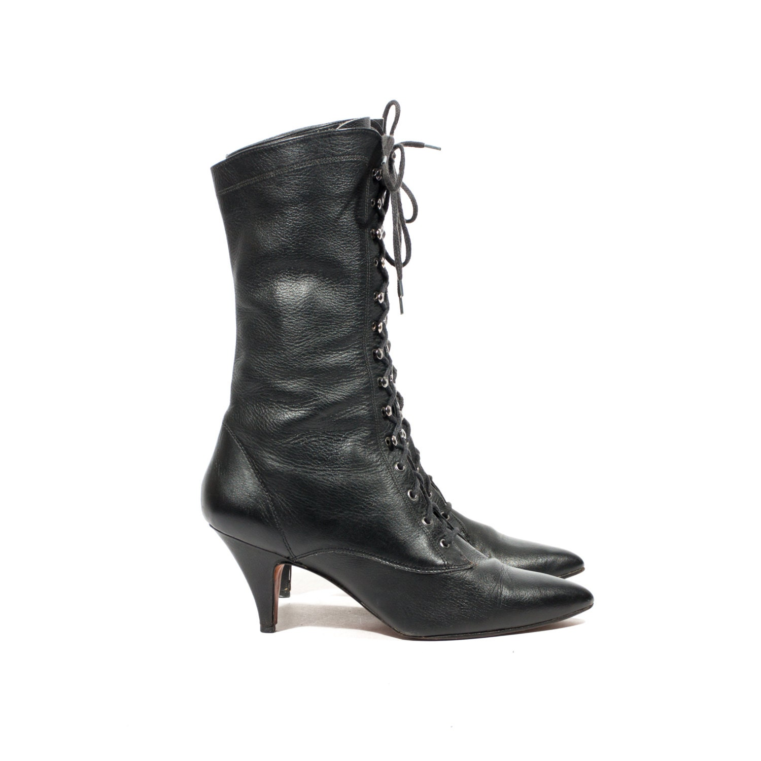 L J Simone Black Leather Witch Boots Mid By