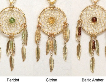 Dream Catcher Peridot, Citrine, Amber & Gold Dreamcatcher Necklace with Feathers