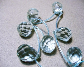 Glass Briolettes Beads Aquamarine Faceted 16x12MM