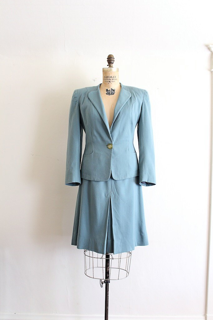 A Royal Night Out: 1940s Blue Wool Skirt Suit