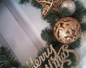 Gorgeous 19 inch Gold Sparkle Christmas Wreath - Holiday Wreath - Door Decoration - Xmas - ready to ship - non-traditional