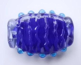 Blue Focal Lampwork Bead Freeform - SRA Poets Torch - BLUE POD