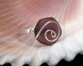 Purple Sea Glass Ring:  Fine Silver Spiral Swirl Wire Wrapped Amethyst Plum Beach Jewelry, Size 8