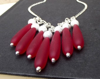 Red Sea Glass Necklace:  Long Teardrop Cherry Red Statement Bib Necklace, Silver Sparkle Beaded Fringe Beach Jewelry