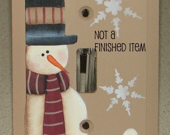 EPATTERN, #0015  snowman, switch plate cover, painting pattern, paint your own, digital download, snowman pattern, prim pattern, winterdecor