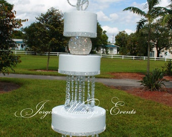 Wedding Cake Complete Bling.......Cake topper, Rhinestone Orb, Cake Chandeliers, Cake Stand and Cake Ribbon to fit each cake
