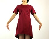 ON SALE! Mini red Dress Before 98 Dollars tunic  wine burgundy high low hem spring summer fashion pull over short sleeve cotton Rose Temple