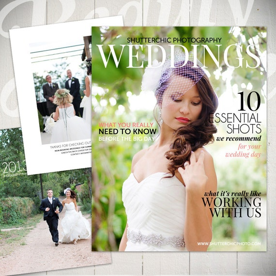 Photography magazine template wedding guide digital or for Wedding photography magazine template