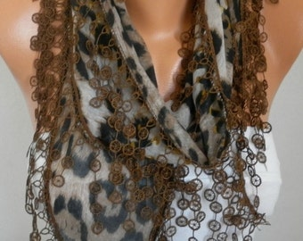 Brown Leopard Print Scarf Teacher Gift  Summer Animal Print Shawl Necklace Cotton Wedding Scarves Cowl Gift Ideas For Her Women Fashion