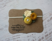 Mixed Felt Flower Bouquet in Mustard Yellows and Cream - Fall Flower Headband - Photo Prop - SBB Original