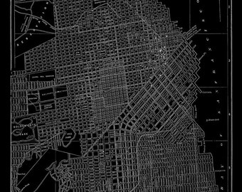 San Francisco Map - Black Street Map Vintage
