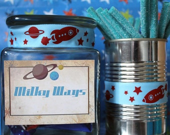 Space Cadet Party Labels - INSTANT DOWNLOAD - Editable & Printable Birthday Decorations by Sassaby